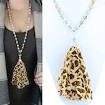 """Leopard Tassel Necklace - 30"""""""