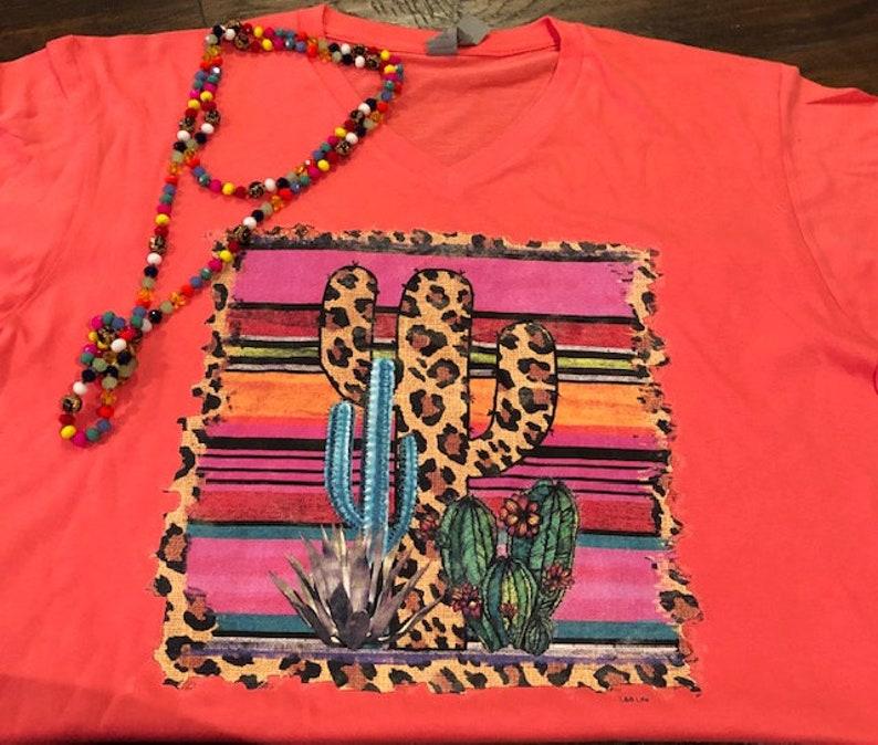Cactus Serape Leopard on Coral Short Sleeve Cotton Heritage image 0