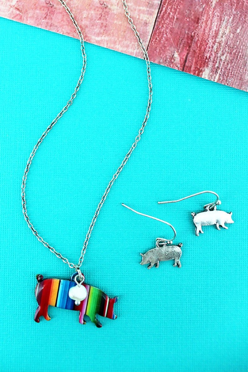 Serape Pig Necklace 18/Earring Set image 0