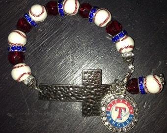 Texas Rangers Cross Bracelet
