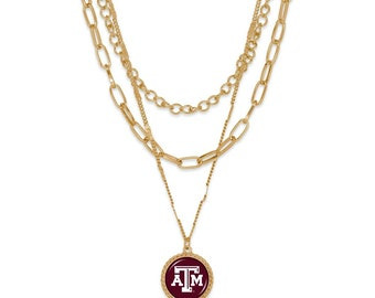 Texas A&M Aggies Gold Tone Triple Link Necklace