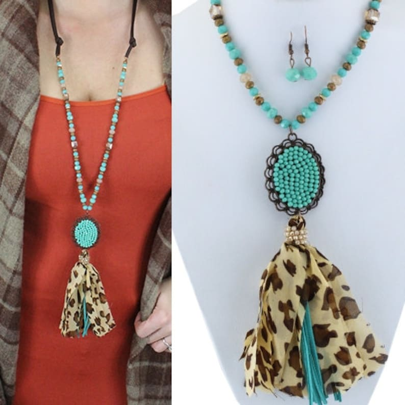 Turquoise Crystal Pendant And Tassel Necklace 30 image 0
