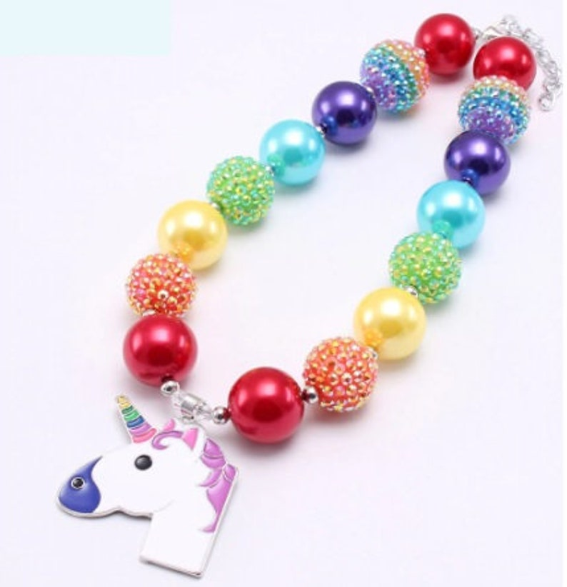 Little DIVA Unicorn Rainbow Bubble Gum Necklace image 0