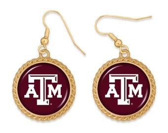 Texas A&M Aggies Gold Tone Drop Earrings