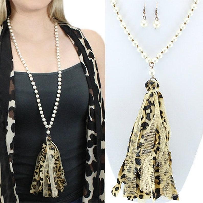 Leopard & Cream Tassel Necklace  30 image 0