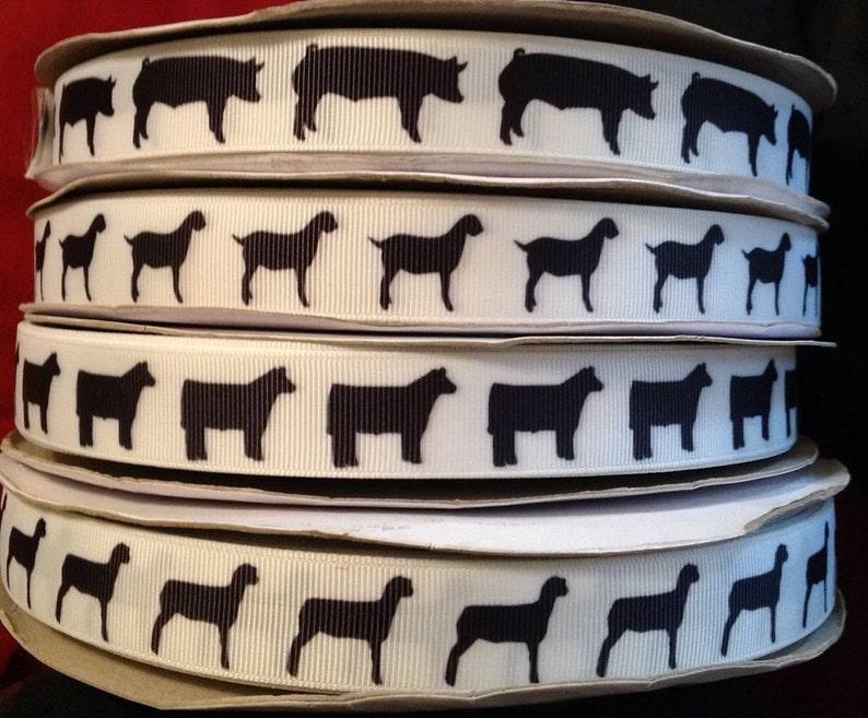 Stock show Animal Grosgrain 7/8 inch Ribbon image 1
