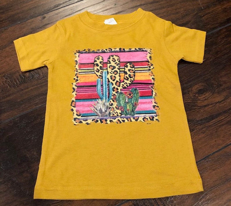Kids Cactus Serape Leopard on Mustard Short Sleeve Cotton image 0