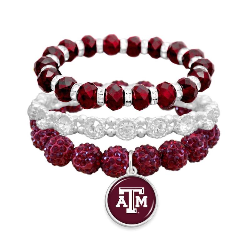 Triple Stack Texas A&M Aggies Stretch Bracelet image 0