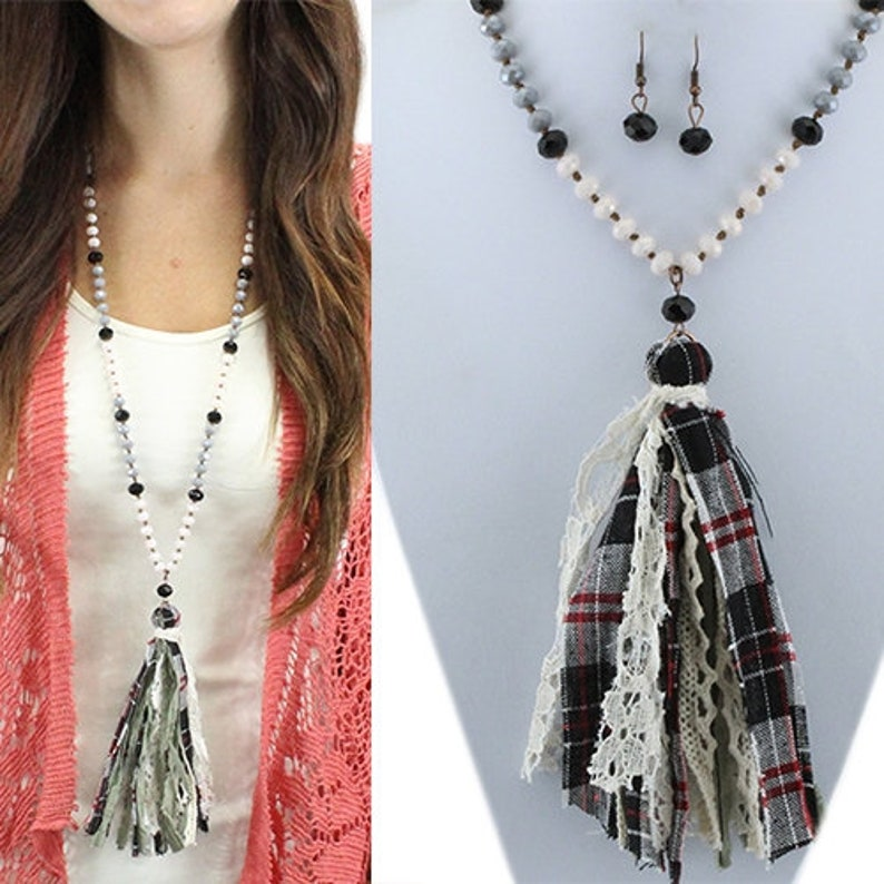 Crystal Plaid Beaded Necklace With Fabric Tassel  30 image 0
