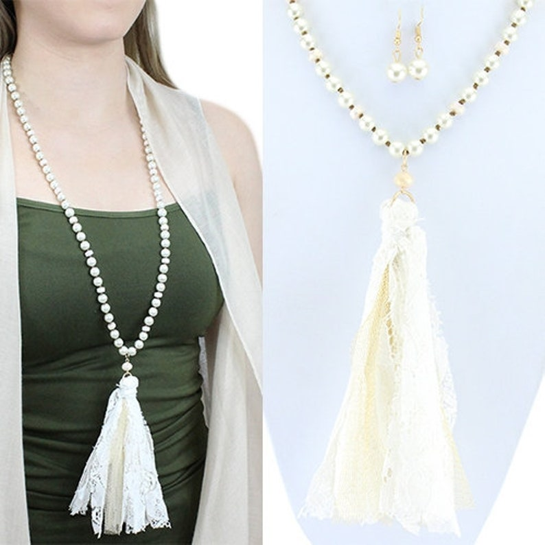 Off White on Pearl Tassel Necklace  30 image 0
