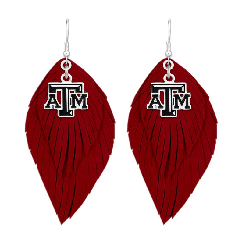 Texas A&M Aggies Earrings Leather Boho with Logo Charm image 0