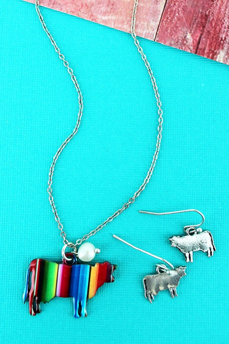 Serape Cow Necklace 18/Earring Set image 0
