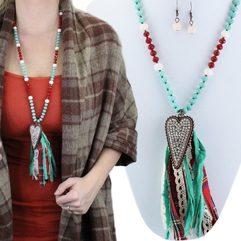 Heart Leopard/Turquoise/Red Tassel Necklace 30 image 0