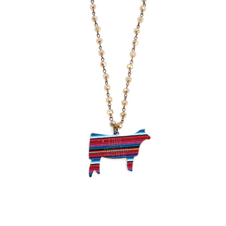 Love Showin'  Serape Cow or Pig Necklace image 0