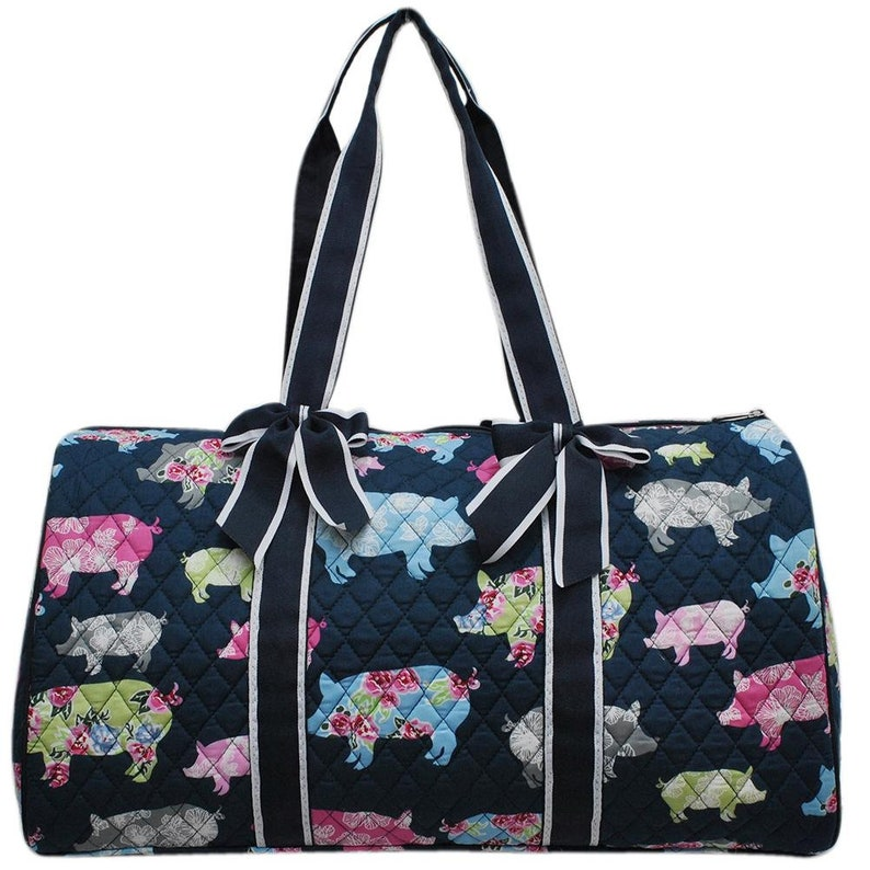 Pig in the Summer Quilted Duffel Bag image 0
