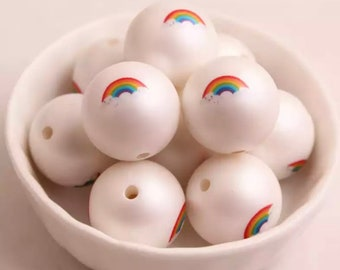 Rainbow Print Faux Matte Pearl Bubblegum Beads 20mm - 10 count