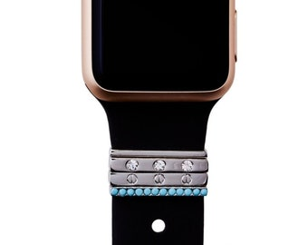 Black with Silver and Turquoise Removeable Rings Apple Watch Band fits 38MM