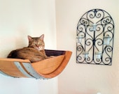 """Wine Barrel  Wall Hanging Cat Bed - """"BIRALA"""" - made from local CA retired wine barrels - 100% Recycled!"""