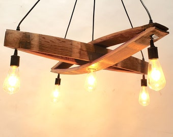 """Wine Barrel Stave Chandelier """"Kuvu"""" Made from reclaimed California wine barrels. 100% Recycled!"""