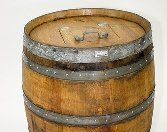 """Wine barrel trash can w/ removable lid  """"Receptacle"""" made from reclaimed wine barrels. 100% Recycled!"""