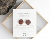 "Round Wine Barrel + Silver Cuff Links ""Regards"" Made from retired Opus 1 Cabernet CA wine barrels -100% Recycled + Free US Shipping!"