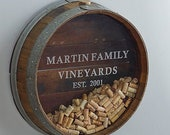 """Wall Mounted Wine Barrel Cork Display """"Kala"""" Made from retired wine barrels - 100% Recycled and Free Shipping! (US Only) Custom Engraving"""