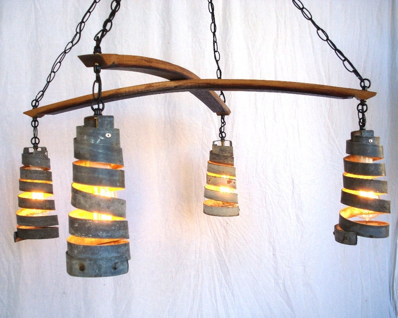 100/% Recycled Free US Shipping! Wine Barrel Ring Chandelier Intersect Made from retired California wine barrels