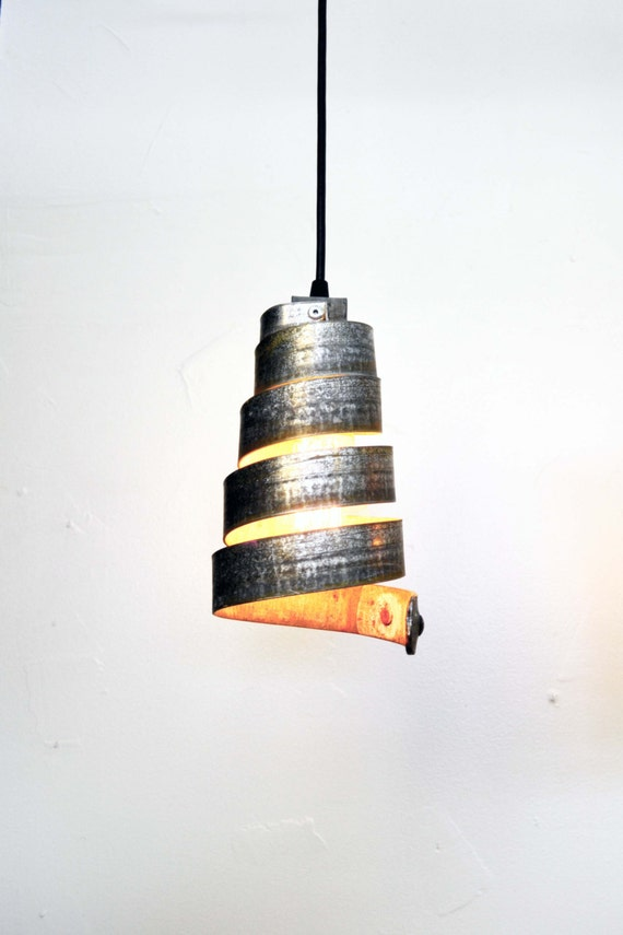 100/% Recycled US Only Wine Barrel Ring Pendant Light Kahara FREE Shipping made from retired CA wine barrel rings