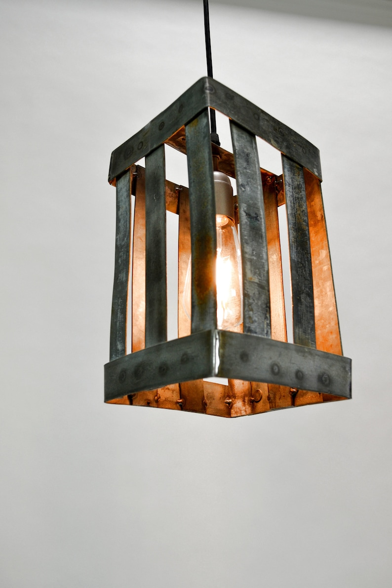 Barovi ! Wine Barrel Ring Pendant Light Made from salvaged California wine barrel rings 100/% Recycled and Free Shipping US Only