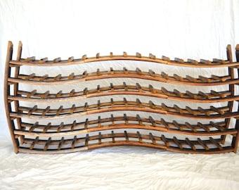 "Triple Wave Wine Barrel Rack made from retired Napa wine barrels - 100% recycled! WINE RACK - ""Flow"" -"