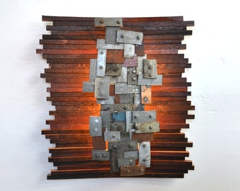 """Wine Barrel Wall light / Art - STUDIO - """"Nelio"""" - made from reclaimed Napa wine barrels and rings - 100% Recycled wine barrels!"""