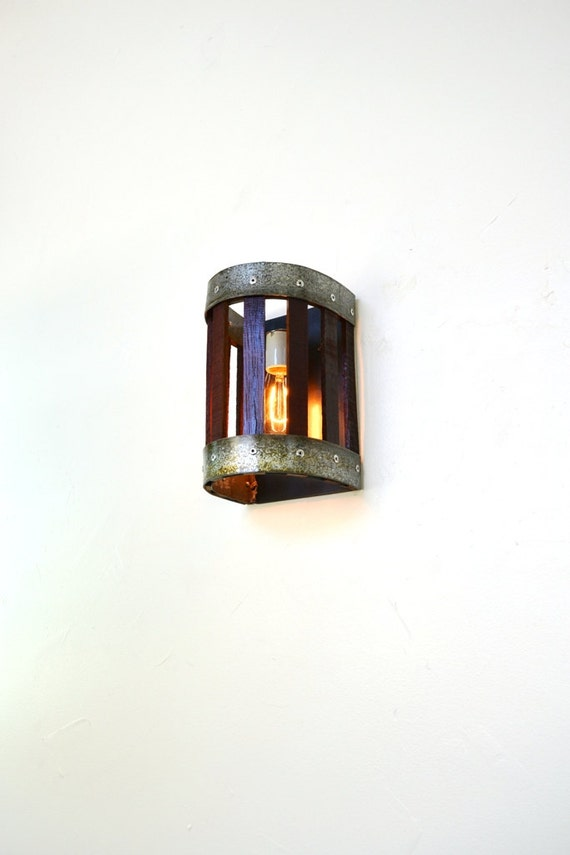 Wine Barrel Wall Sconce Craftsman Carica Made Etsy