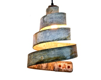 """Wine Barrel Ring Pendant Light """"Lavaliere"""" Made from Retired California wine barrel rings 100% Recycled!"""