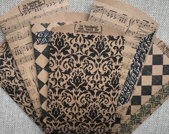 Handmade French/Vintage paper bags/Junk Journal/Gift Bags
