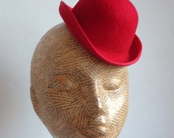 157a4a6c7dd Mini felt Bowler hat in Red - Millinery Supplies