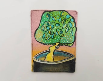 MAGNET Tree on Pot - Original painting on canvas on magnet