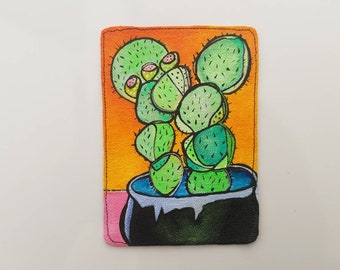 MAGNET Fresh Cactus on Pot - Original painting on canvas on magnet