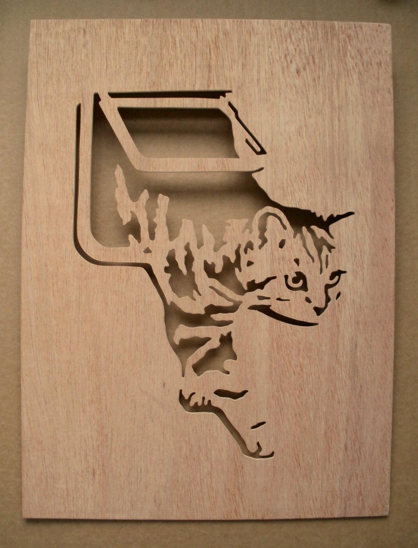 Cat Flap Wooden Stencil Pet Door Etsy