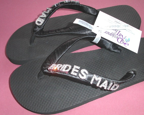 3ed9a147d33eb Wedding Flip Flops with BRIDESMAID in silver or gold letters