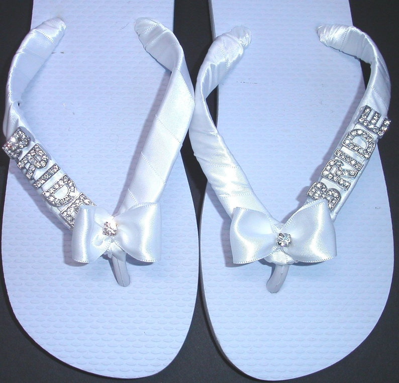 a473ae1a12e5e Wedding Flip Flops Thongs with BRIDE in silver or gold letters