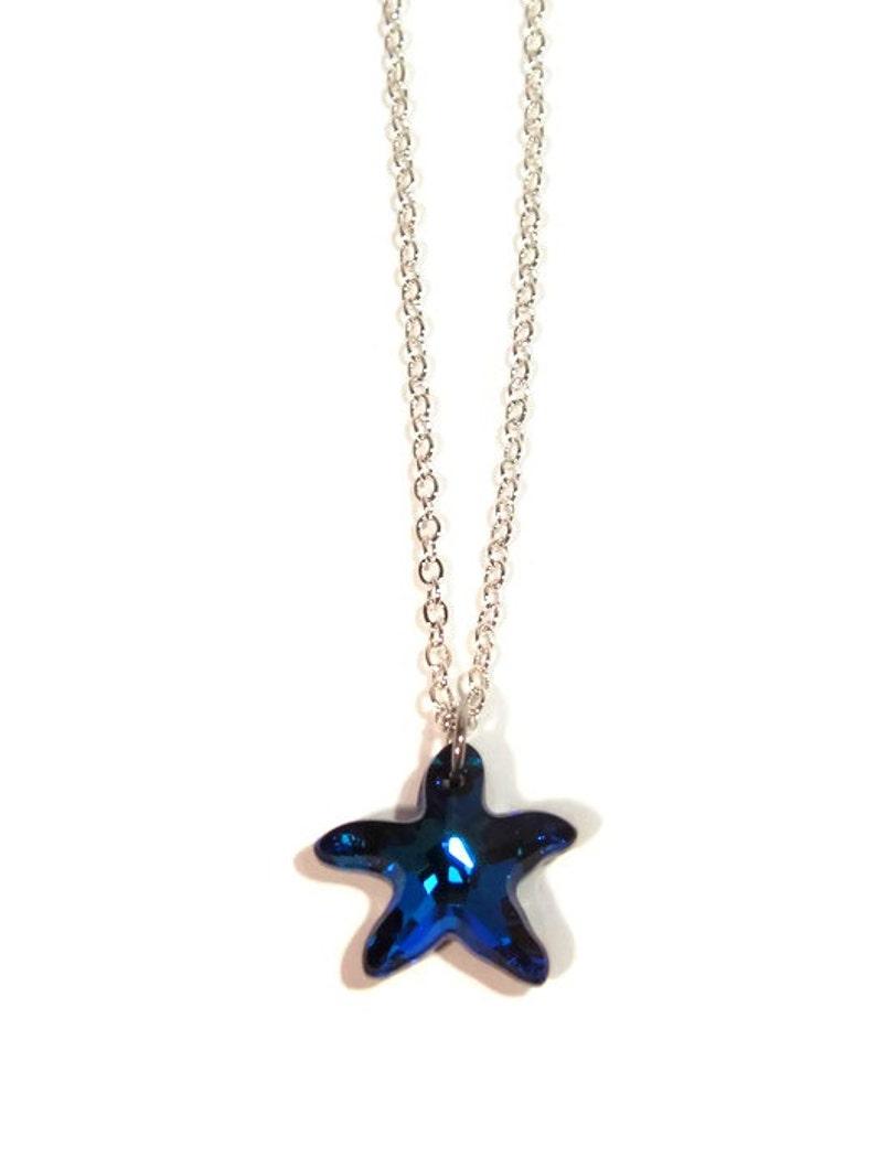 e990732841959 Swarovski Crystal Bermuda Blue Starfish Pendant with Silver Chain