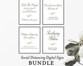 Social Distancing Wedding - Wedding Signs - Printable Signs - Pandemic Wedding - Social Distancing Signs - Digital Signs