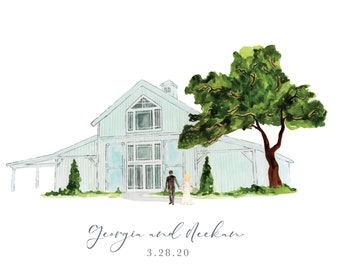 Custom Watercolor Wedding Venue Painting, Wedding Venue Portrait, Wedding Gift, Anniversary Gift, Personalized Gift