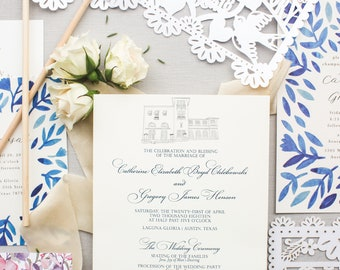 Custom Wedding Venue Sketch, Wedding Venue Portrait, Church Sketch, Wedding Gift, Anniversary Gift, Personalized Gift