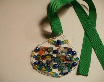 freeform watercolor pendant
