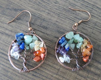 Tree of Life Earrings Rainbow Earrings Gemstone Wire Tree Silver Earrings Multi colored Beaded Tree of Life Dangle Earrings Mothers Day Gift