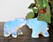 Moonstone Elephant Totem Hand carved Gemstone Opal Elephant Statue Terrarium Miniature Elephant Crystal Figurine Opalite Gift for Teen Gift