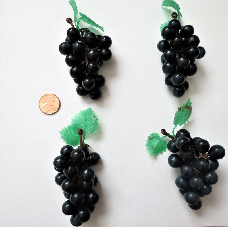 Mini Grapes Lot of 4 Plastic Grapes Wedding Favor Fruit Wine Decor 3 Purple Grapes Rubber Grapes Lot Craft Supplies American Girl Doll