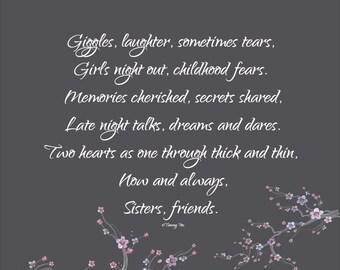 Sisters Print - Best Friends Print - Sisters Poem - Best Friend Poem - Personalized Print - Maid of Honor Print- Bridesmaid Thank You Gift