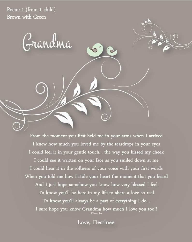 To Grandma From Grandkids Grammy Gifts Nana Gifts Glamma Gifts Mimi Gifts Meme Gifts Nonna Gifts Gramma Gifts Gaga Gifts Choice Of Poem
